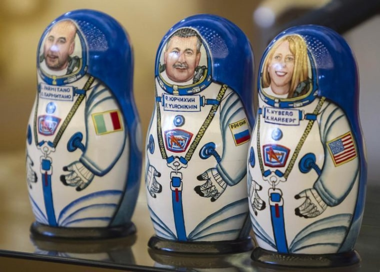 Russian nesting dolls depicting International Space Station crew members