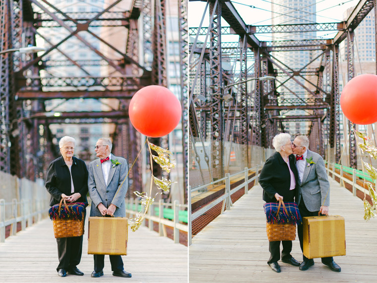 Donald and Dorothy Lutz struck an 'Up'-inspired post for their anniversary photo shoot.