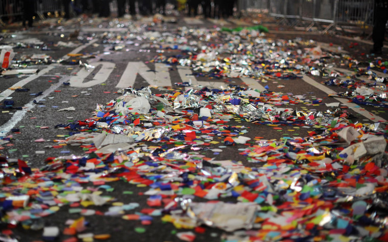 Garbage left from New Year celebrations on a street in Times Square in New York