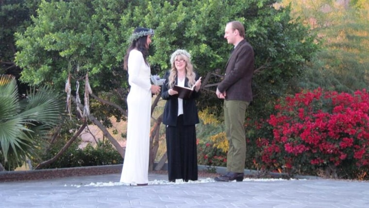 Fleetwood Mac singer Stevie Nicks marrying the musical duo Vanessa Carlton and John McCauley.