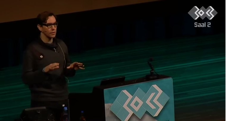 Security researcher Jacob Appelbaum speaks at a conference in Hamburg, Germany.
