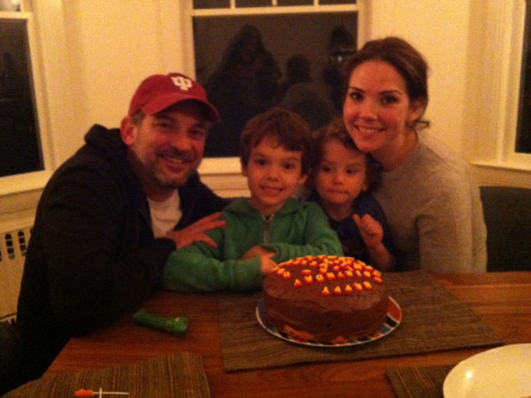 All her boys: TODAY's Erica Hill with her husband David and sons Weston, 6, and Sawyer, 2.