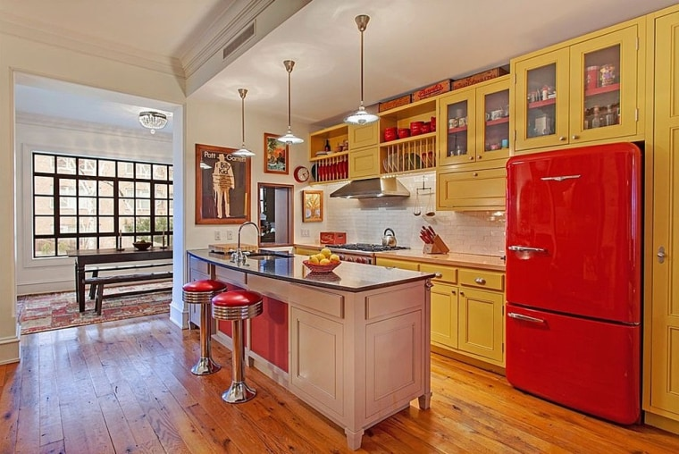 Ethan Hawke's New York City townhouse, featuring this colorful kitchen, is on the market for $6.25 million.