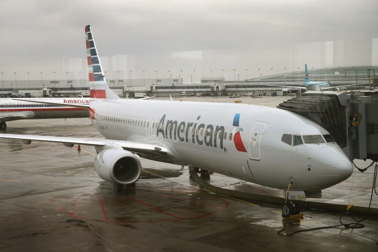 A new American Airlines 737-800 aircraft featuring a new paint job with the company's new logo sits at a gate at O'Hare Airport on Jan. 29, 2013 in Ch...