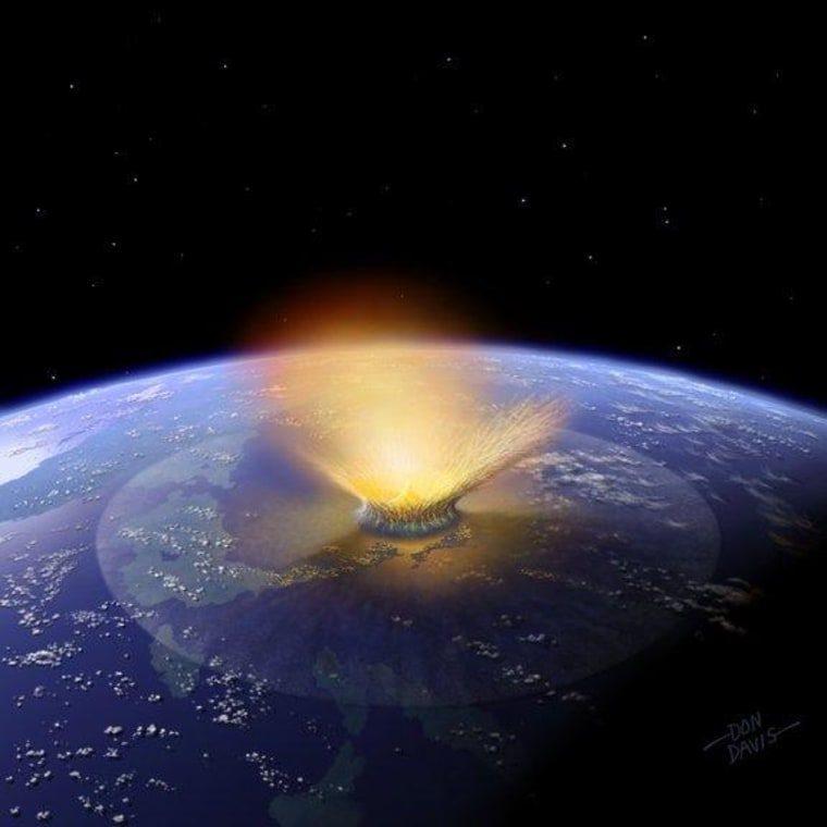 An artist's impression of a 6-mile-wide asteroid striking the Earth. Scientists now have fresh evidence that such a cosmic impact ended the age of dinosaurs near what is now the town of Chixculub in Mexico.