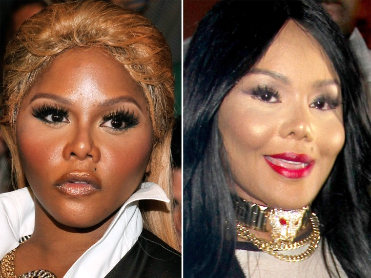 Rapper Lil Kim in 2012, left, and 2013, right.