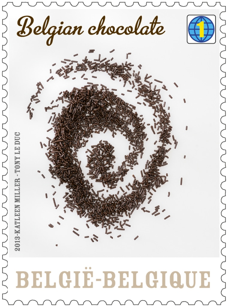 One of the stamps in Bpost's chocolate collection.