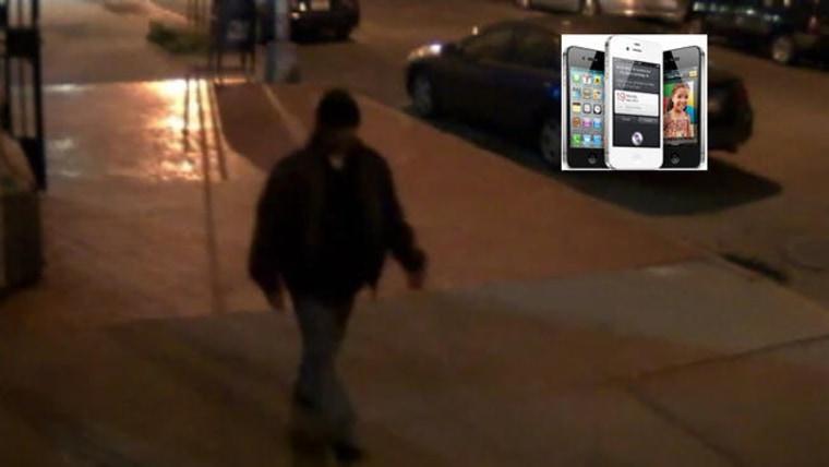 Alleged iPhone mugger, shown in screenshot from surveillance video.