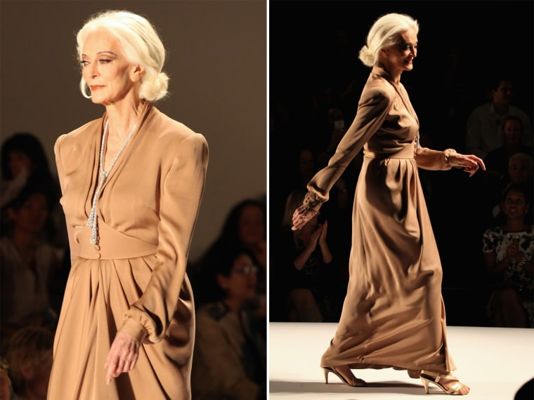 This senior citizen isn't slowing down: Model Carmen Dell'Orefice walks the runway at the Norisol Ferrari Spring 2013 fashion show during Mercedes-Benz Fashion Week on Sept. 10.