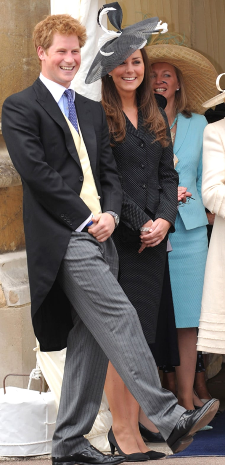 Kate Middleton shares a laugh with Prince Harry as they watch the Order of the Garter procession at Windsor Castle in June 2008.
