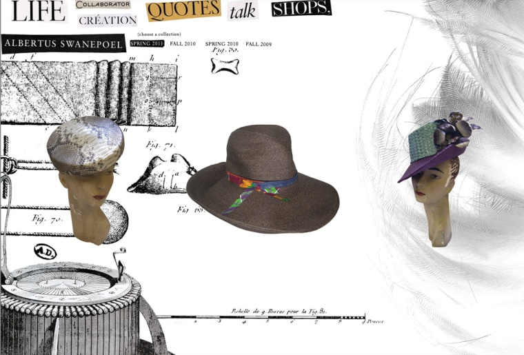 Hats from Albertus Swanepoel's spring collection. The milliner is working with Target on a line of hats due out this fall.