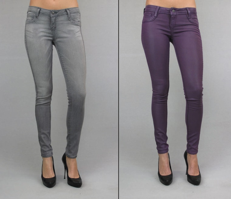 Bleulab's two-sided jeans can take you from day to night and work well for frequent travelers, too. Pictured here, the detour legging in French chalk with plum coating on the reverse.