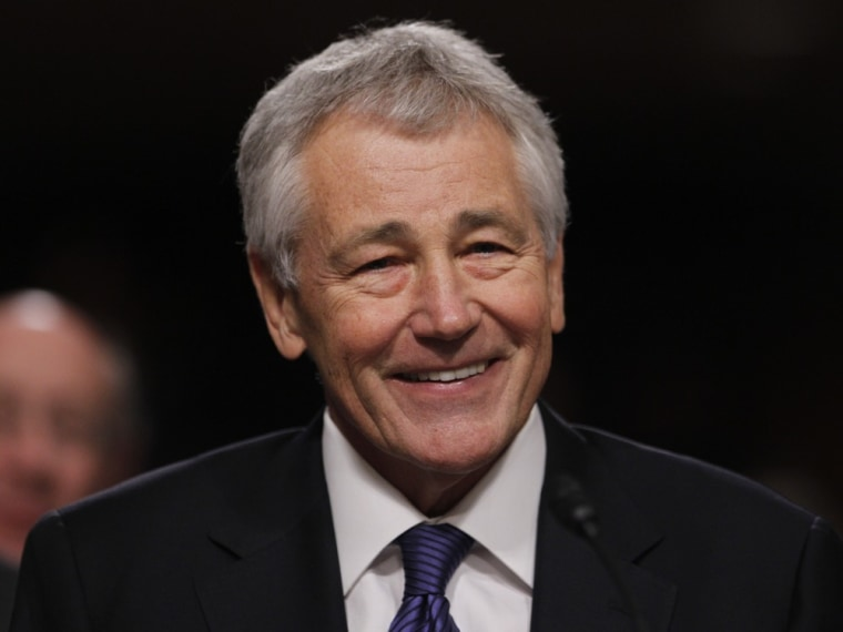 Former U.S. Senator Chuck Hagel testifies during a Senate Armed Services Committee hearing on his nomination to be Defense Secretary, on Capitol Hill in Washington, in this January 31, 2013, file photo.