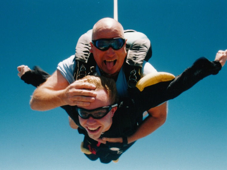 Tandem coach Doug Behrick helped Phillip Bennett complete his first of six skydiving expeditions.