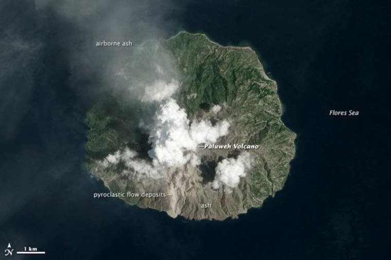 The recent eruption of Paluweh volcano (also known as Rokatenda) in Indonesia left scars visible from space.