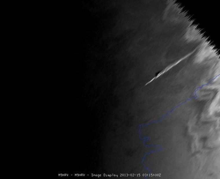 The meteor that exploded over the Urals of central Russia was seen by Meteosat-9, at the edge of the satellite view. This image was taken on Friday.