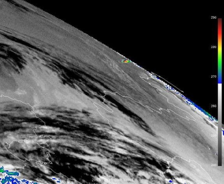 IR3.9 image of the thermal impact of the Russia meteor taken by Meteosat-9 satellite on Friday.