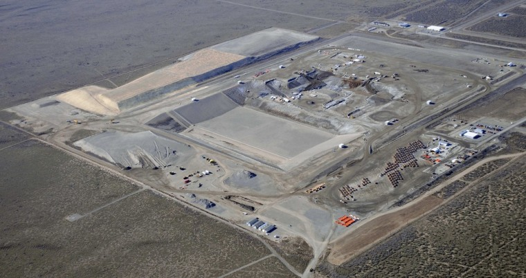 The disposal facility for mixed and low-level radioactive waste at the Hanford Nuclear Reservation in Washington state is shown in an aerial image.