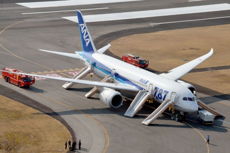 An All Nippon Airways (ANA) Boeing 787 Dreamliner is seen after making an emergency landing at Takamatsu airport in western Japan January 16, 2013, in...