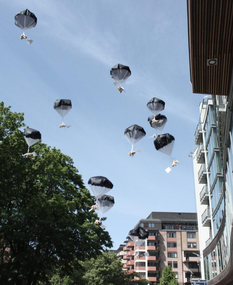 A Swedish advertising agency parachuted the 879 teddy bears over a residential area in Minsk, Belarus, on July 4, 2012.