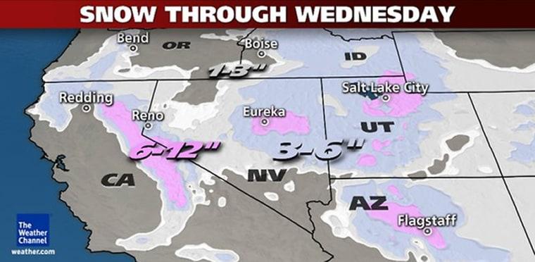 Snow forecast through Wednesday.