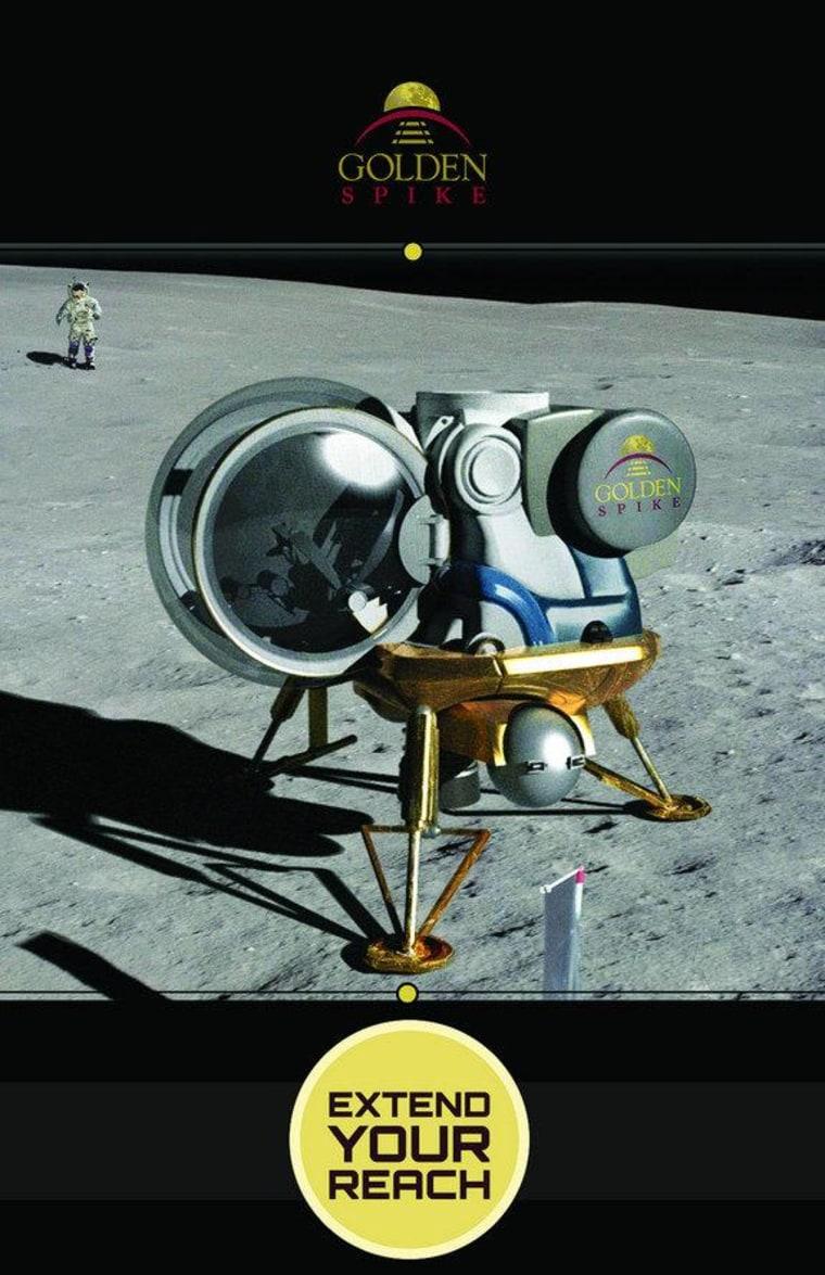 An artist's illustration of a Golden Spike Co. moon lander on the lunar surface.