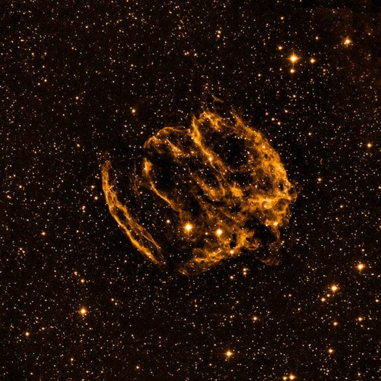An optical view of the rare supernova remnant W49B, which may be the home of the youngest black hole in the Milky Way Galaxy.