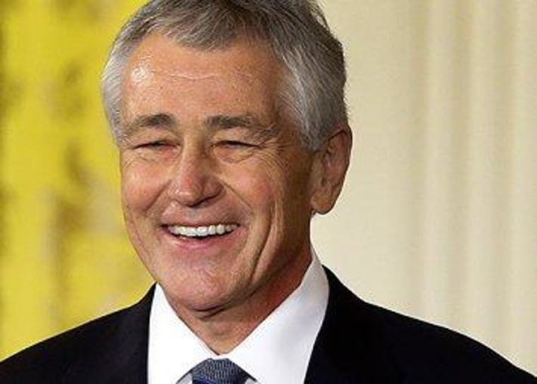 I wonder if Hagel's laughing at the quality of the smears against him.