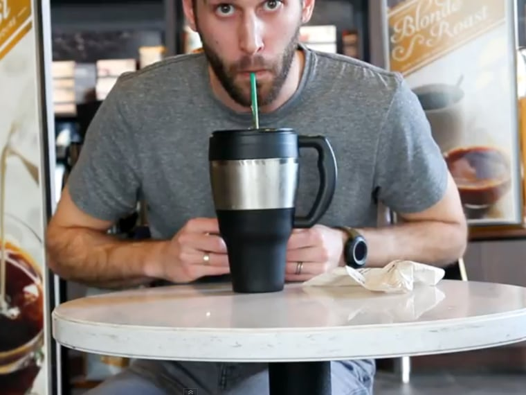 Beau Chevassus took several days to consume the prodigious Starbucks beverage.