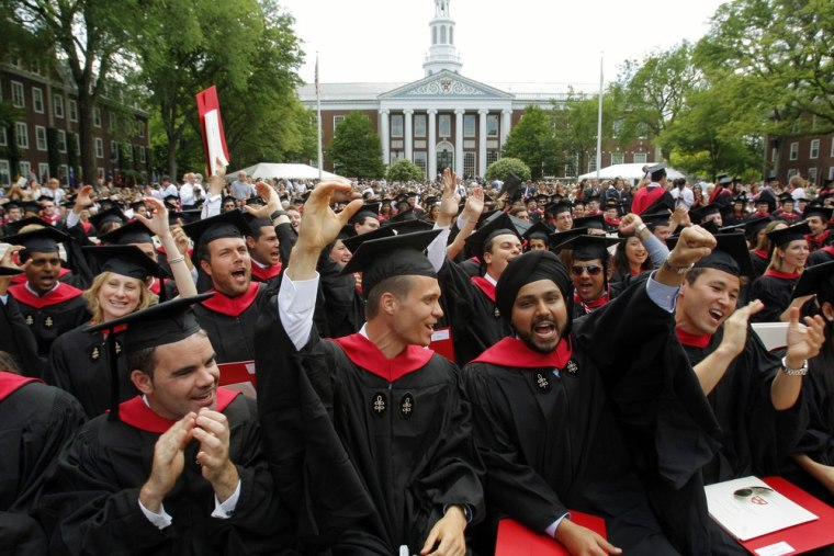 Can you spot the billionaire-to-be? Harvard tops the list of the schools graduating the most mega-rich. Pictured here: Harvard Business School student...