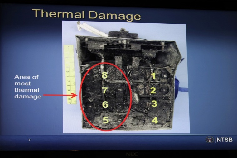Damaged batteries are displayed during a Washington news conference on an investigation into the January 7 fire that occurred on a Japan Airlines Boei...
