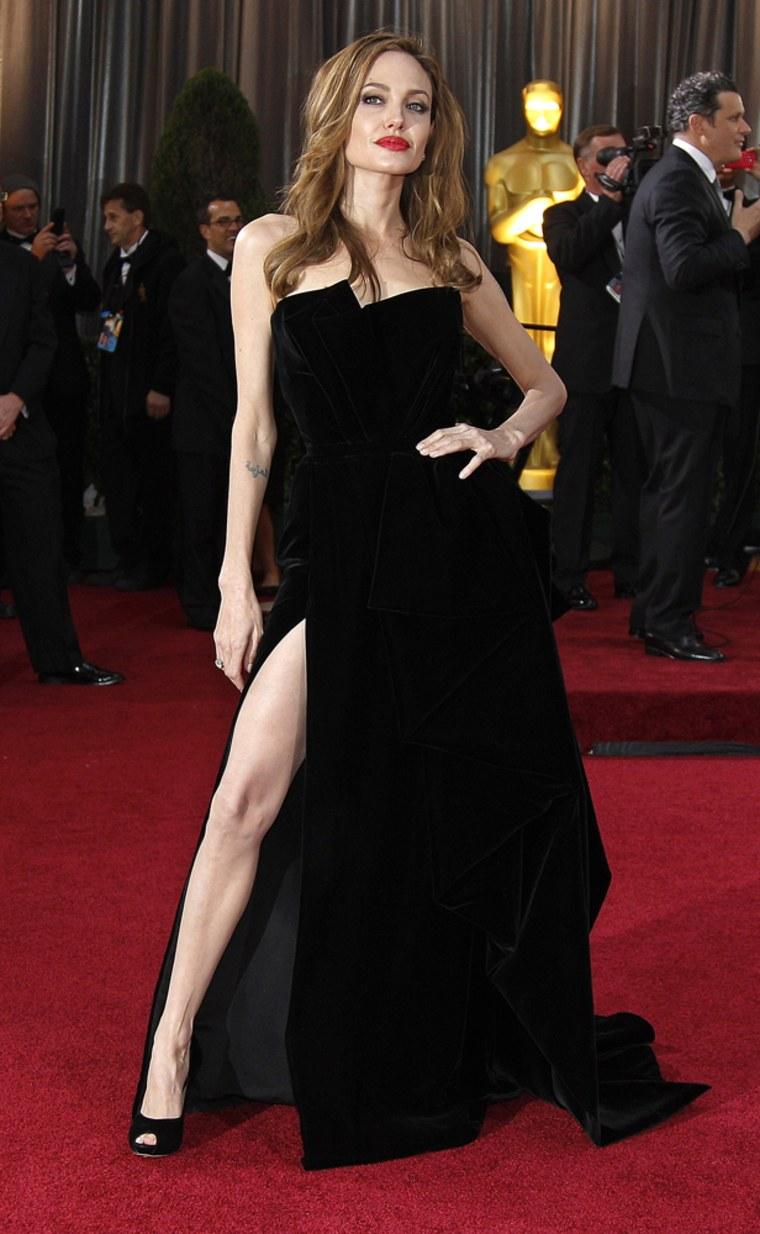Angelina Jolie's leg went to the 2012 Oscars.