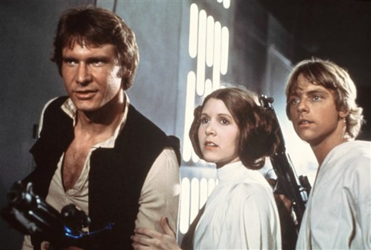 Harrison Ford, Carrie Fisher, and Mark Hamill in