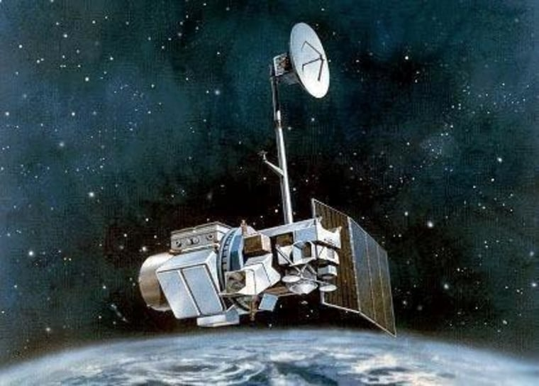 This is an artist's illustration of the Landsat 5 satellite in Earth orbit.