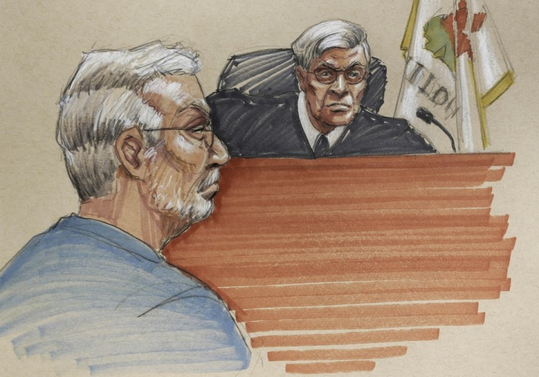 In this courtroom sketch, Drew Peterson, left, sits before Will County Judge Edward Burmila as his defense team sought to convince the judge to grant him a new trial at the Will County Courthouse in Joliet, Ill., on Wednesday, Feb. 20. The new trial was denied Thursday.