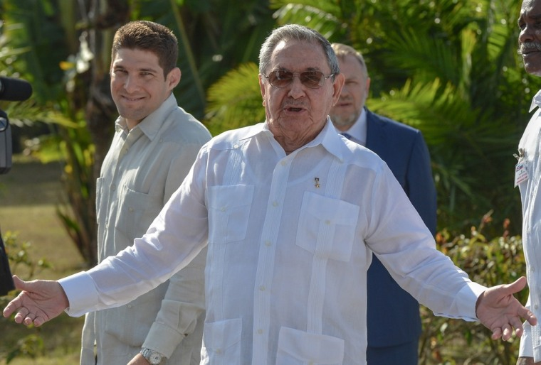 Cuban President Raul Castro visits a mausoleum Friday dedicated to Soviet solders who died around the world. Outside the frame is visiting Russian Prime Minister Dmitry Medvedev. Castro surprised those on hand when he mentioned retirement and urged reporters to pay close attention to a speech scheduled for Sunday.