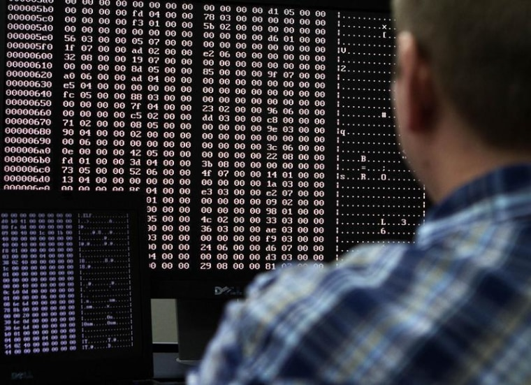 An analyst looks at code in the malware lab of a cyber security defense lab at the Idaho National Laboratory in Idaho Falls, Idaho September 29, 2011....