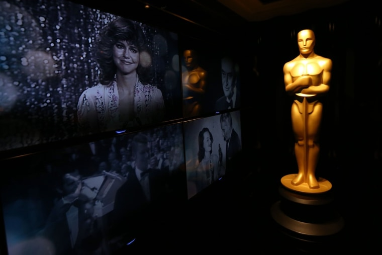An Oscar statue is seen Thursday in front of the Oscar Green Room in advance of the 85th Academy Awards in Los Angeles.