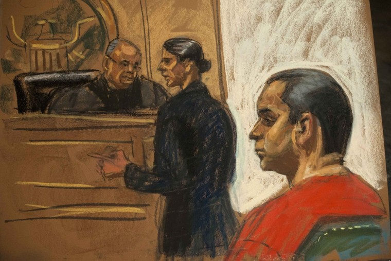 Gilberto Valle III, 28, is seen in this courtroom sketch with his attorney Julia Gatto (C) when he pleaded not guilty to criminal charges before Judge Henry Pitman (L) in the U.S. District Court in Manhattan, New York October 25, 2012.