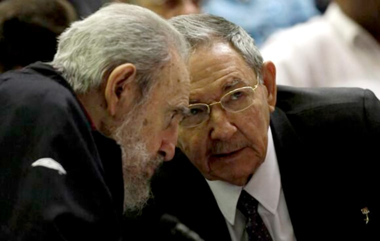 Fidel and Raul Castro at the opening session of the National Assembly in Cuba on Sunday, Feb. 24.
