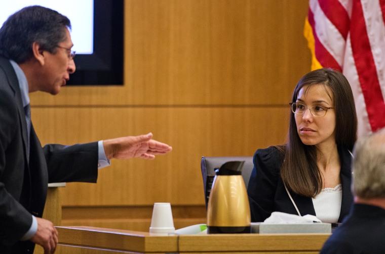 Prosecutor Juan Martinez asks defendant Jodi Arias a question about her diary during cross examination testimony in Maricopa County Superior Court in Phoenix. (AP Photo/The Arizona Republic, Tom Tingle, Pool)