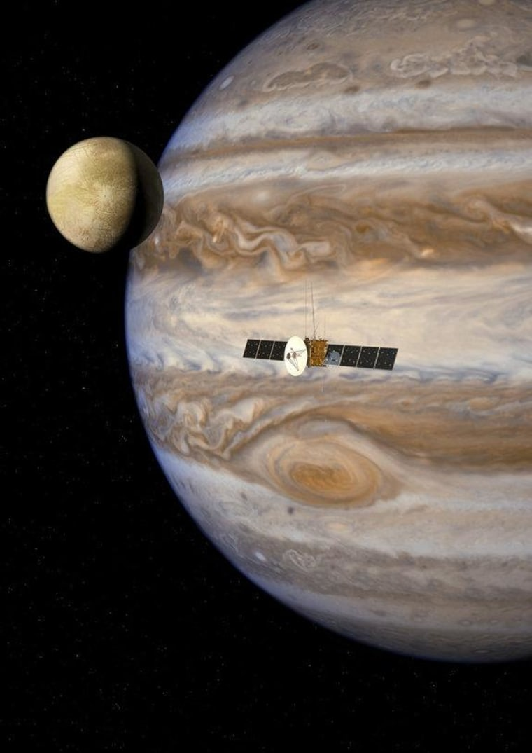 An artist's illustration of the JUpiter ICy moons Explorer spacecraft in the Jovian system. The mission will launch in 2022 and arrive at Jupiter in 2030 to study the planet and its largest moons.