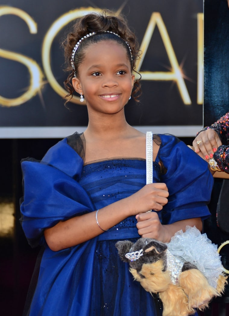 Best actress nominee 9-year-old Quvenzhané Wallis is carrying a puppy purse, which she has shown off on a few red carpets.