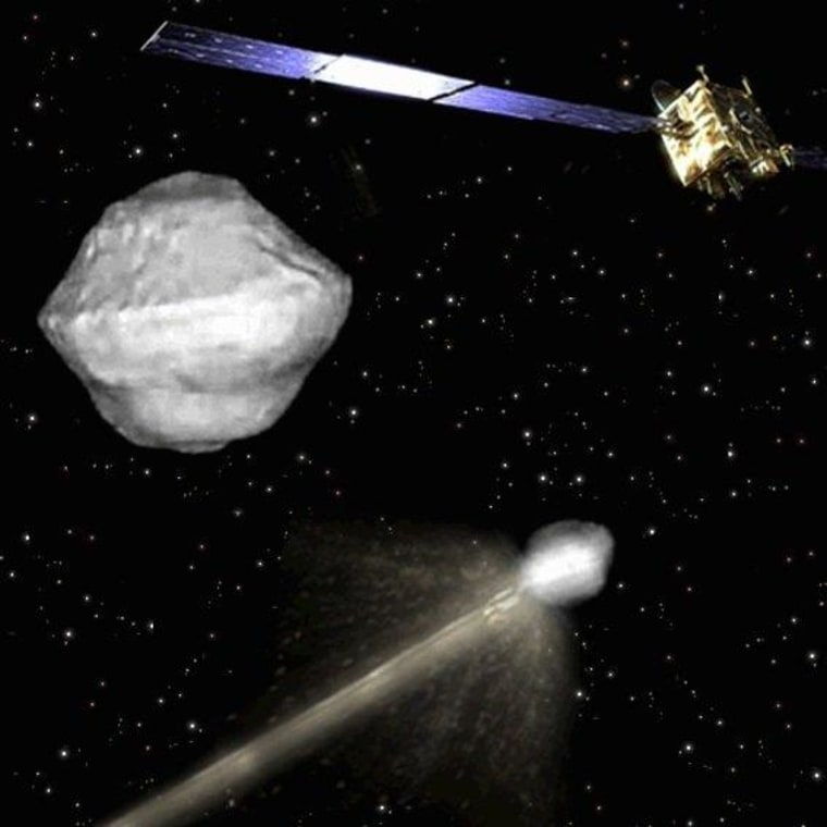 The proposed asteroid-smashing AIDA mission will send one small probe crashing into the smaller asteroid at about 14,000 mph (22,530 kph) while another spacecraft records the dramatic encounter.