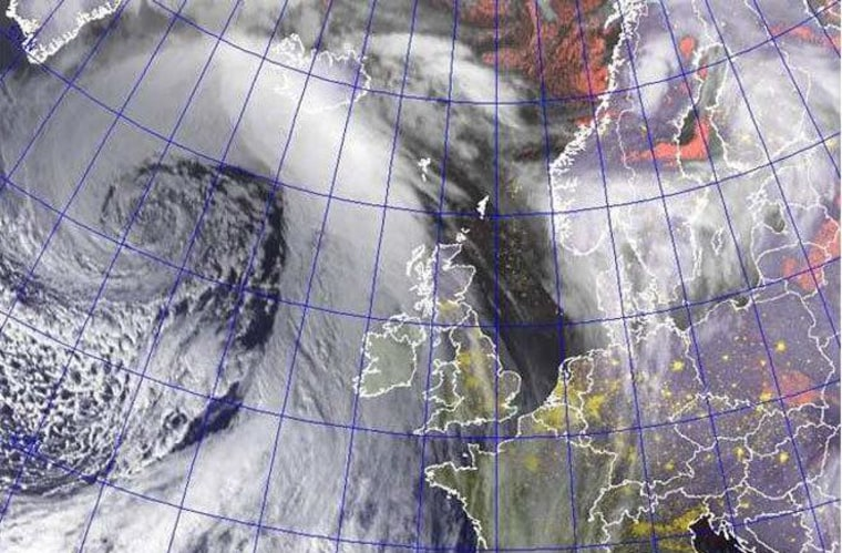 The explosive winter storm Jolle on Jan. 26. Shortly before this image was captured, Jolle reached a central pressure of 930 millibars, on par with a Category 4 hurricane.