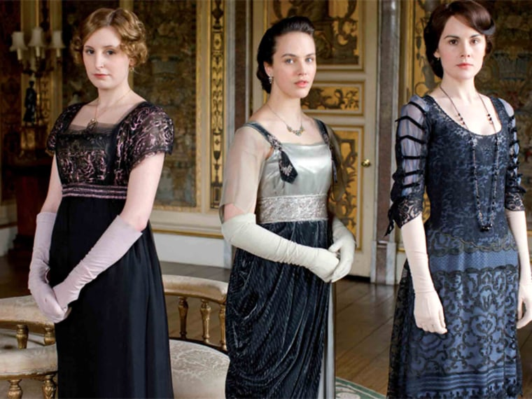 """""""Downton Abbey's"""" Lady Edith, left, Lady Sybil and Lady Mary have garnered many fashion followers with their period-style dresses and accessories."""