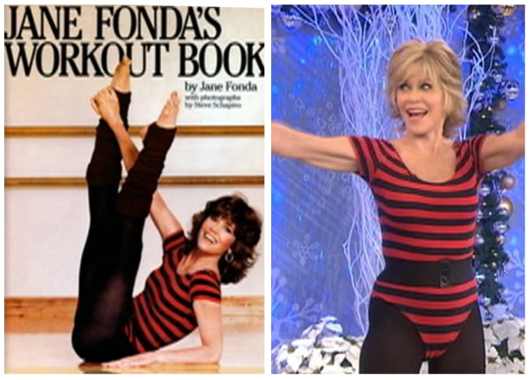 Jane Fonda today (right) in the same exercise outfit she wore in her workout video and book 30 years ago.