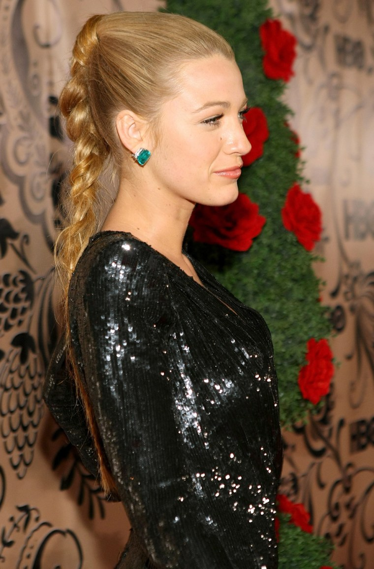 Actress Blake Lively, sporting a chic 'do, attends HBO's post Emmy Awards reception in West Hollywood, California.