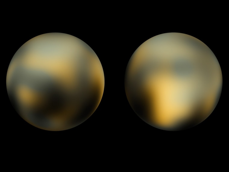 These two pictures of Pluto represent the Hubble Space Telescope's most detailed view of the dwarf planet, but pictures from NASA's New Horizons probe should provide better resolution.