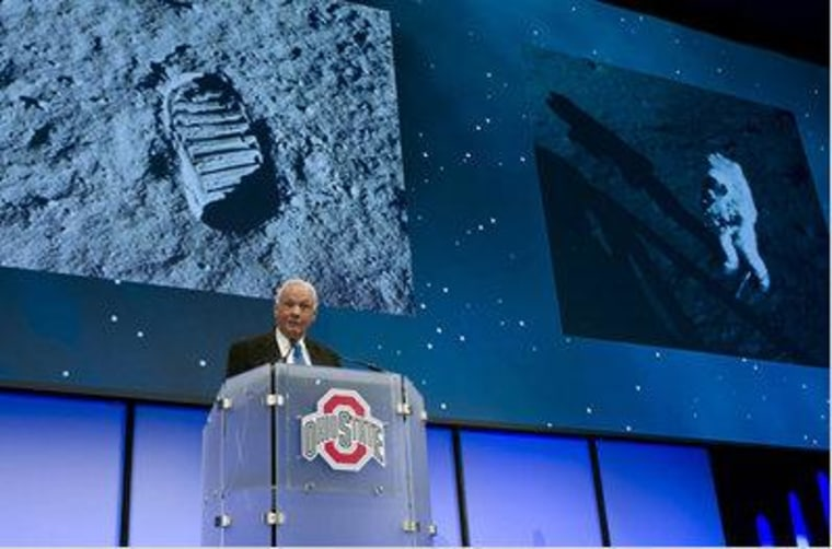Neil Armstrong speaks during a celebration dinner at Ohio State University honoring former U.S. Sen. and astronaut John Glenn's 50th anniversary of his flight aboard Friendship 7 on February 20, 2012 in Columbus, Ohio.